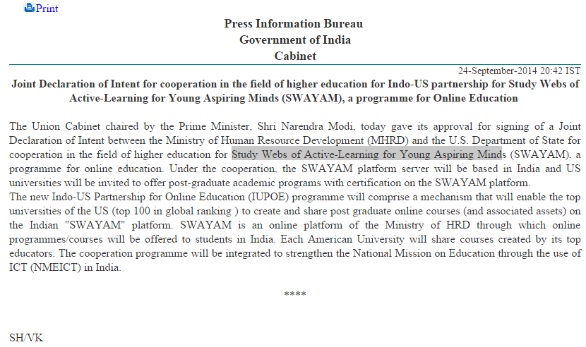 Joint Declaration of Intent for cooperation in the field of higher education for Indo-US partnership for SWAYAM